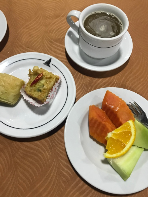 Snacks and coffee by the Manohara Restaurant
