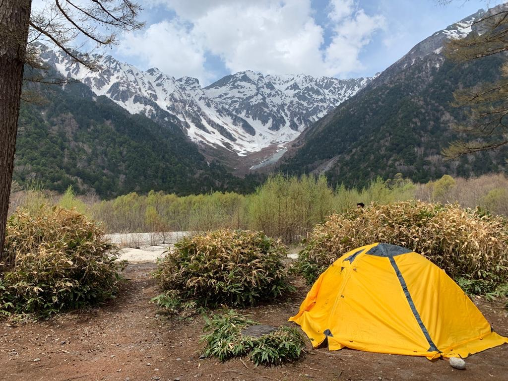 Campsite in Kamikochi, the Japan Alps as a backdrop