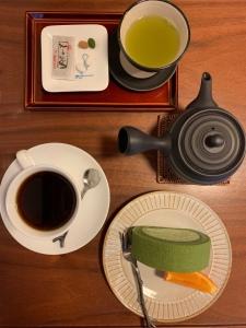 Coffee, te and seasonal cake set at Cafe Ao