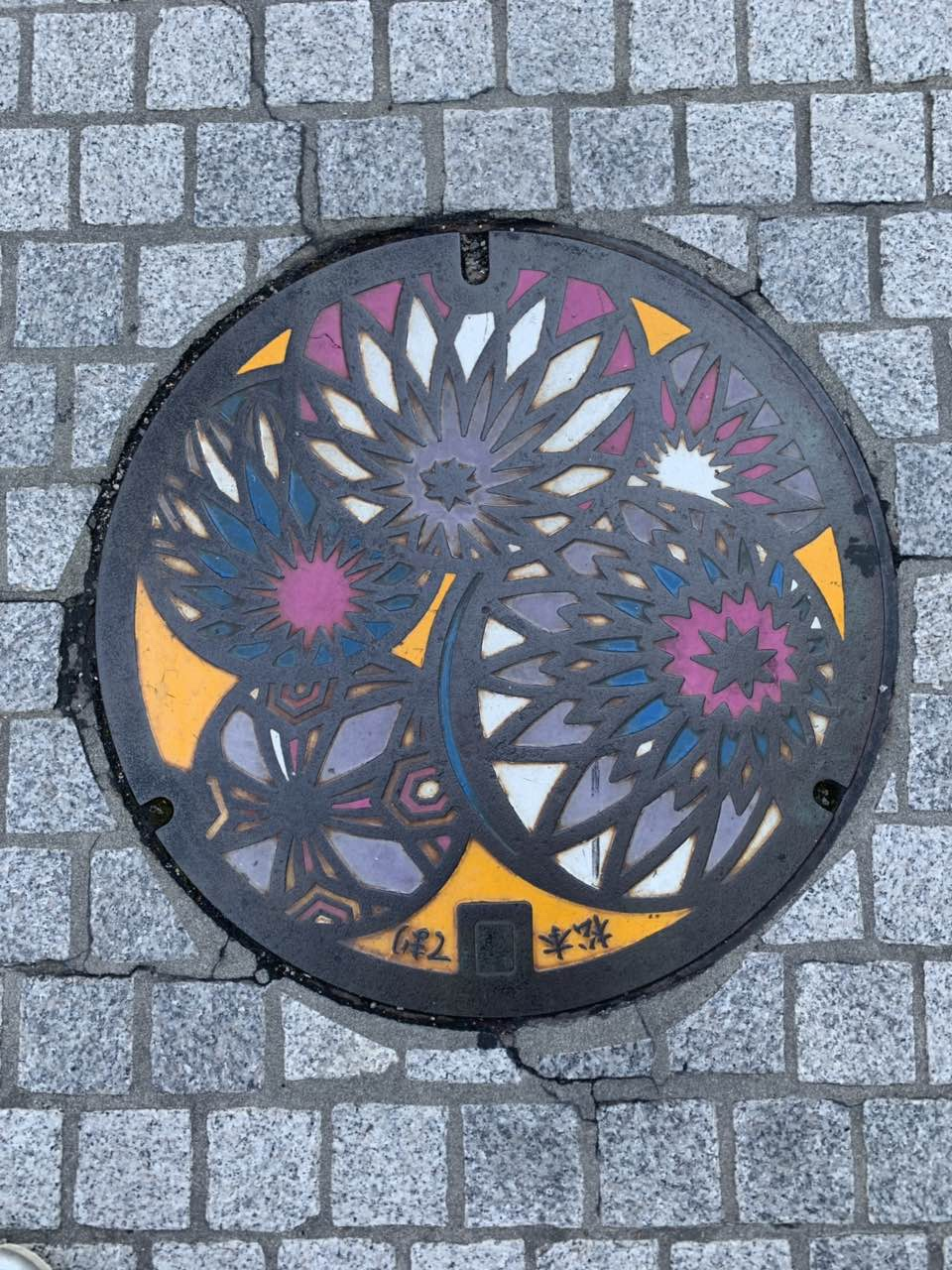 Colorful flower themed manhole cover, Matsumoto