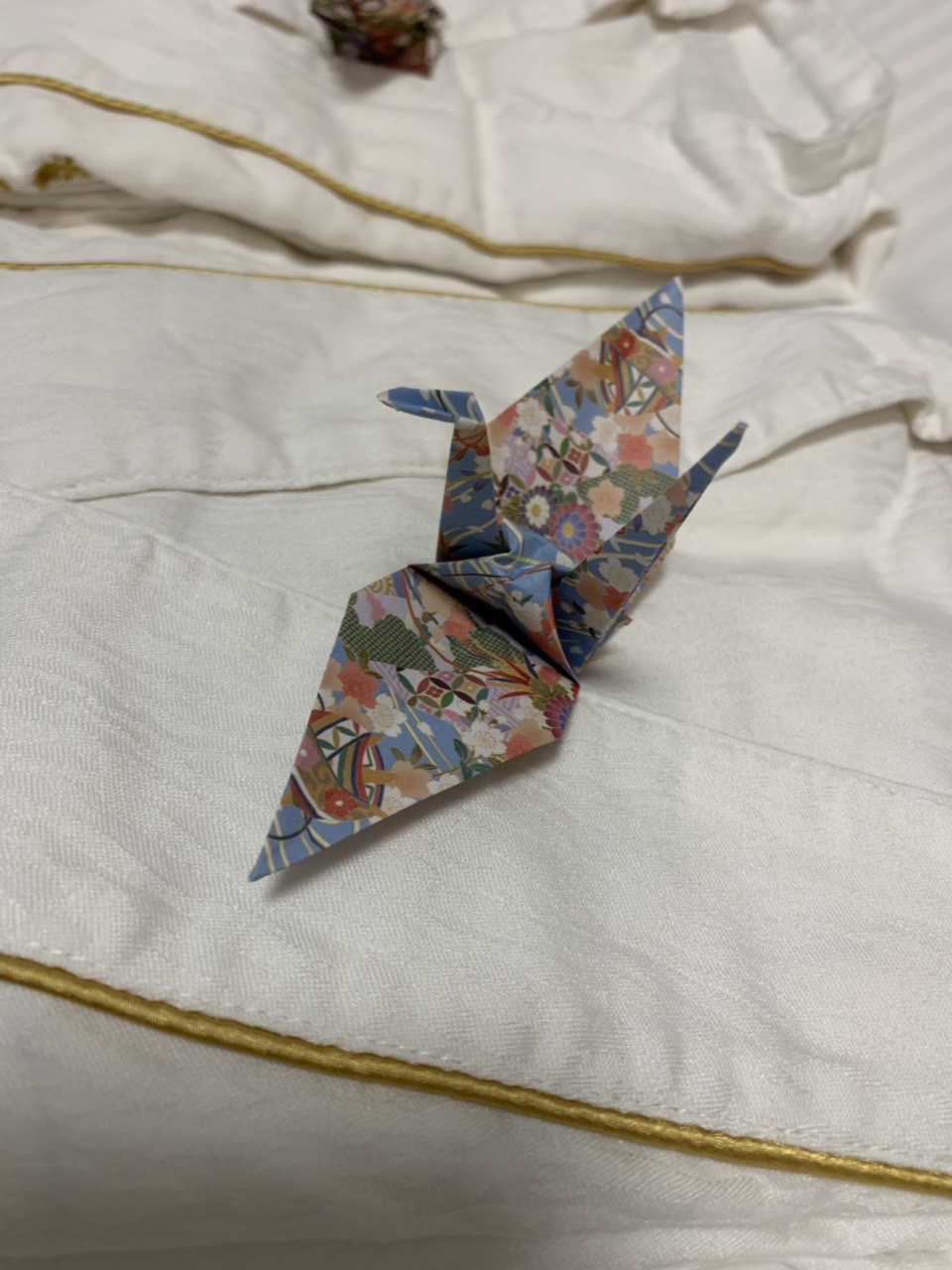 Crane origami on our kimono, a welcome gift from our hotel in Nagoya