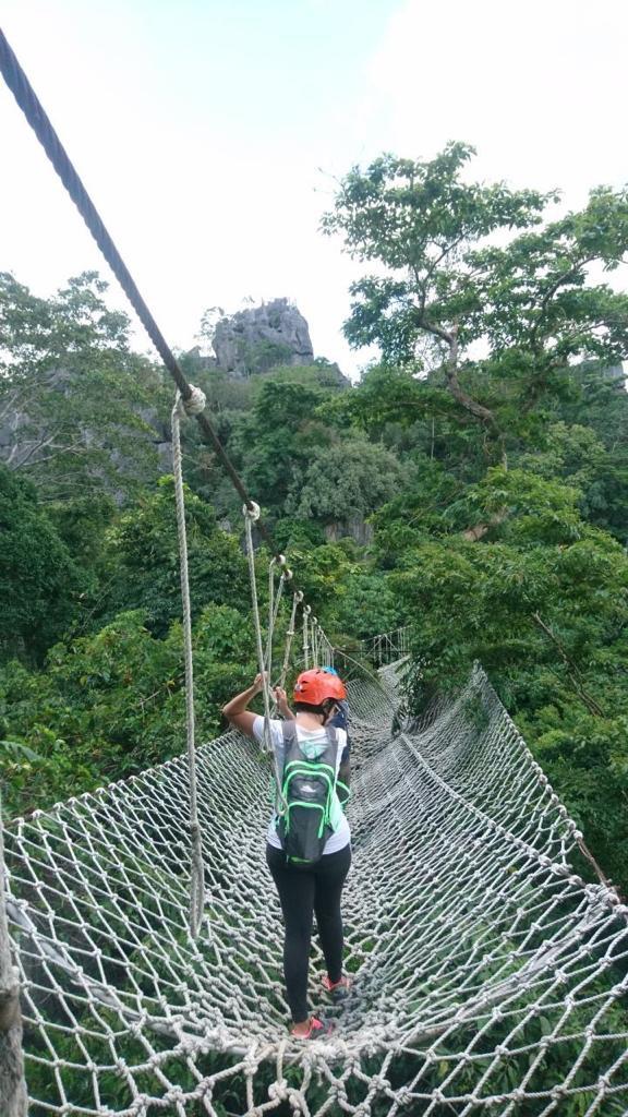 Balancing on the hanging bridge