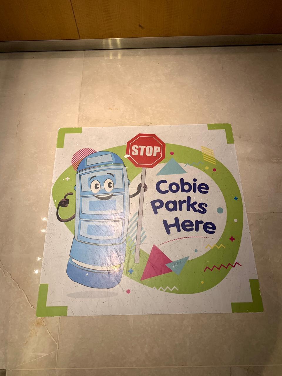 Cobie's parking spot in the lift