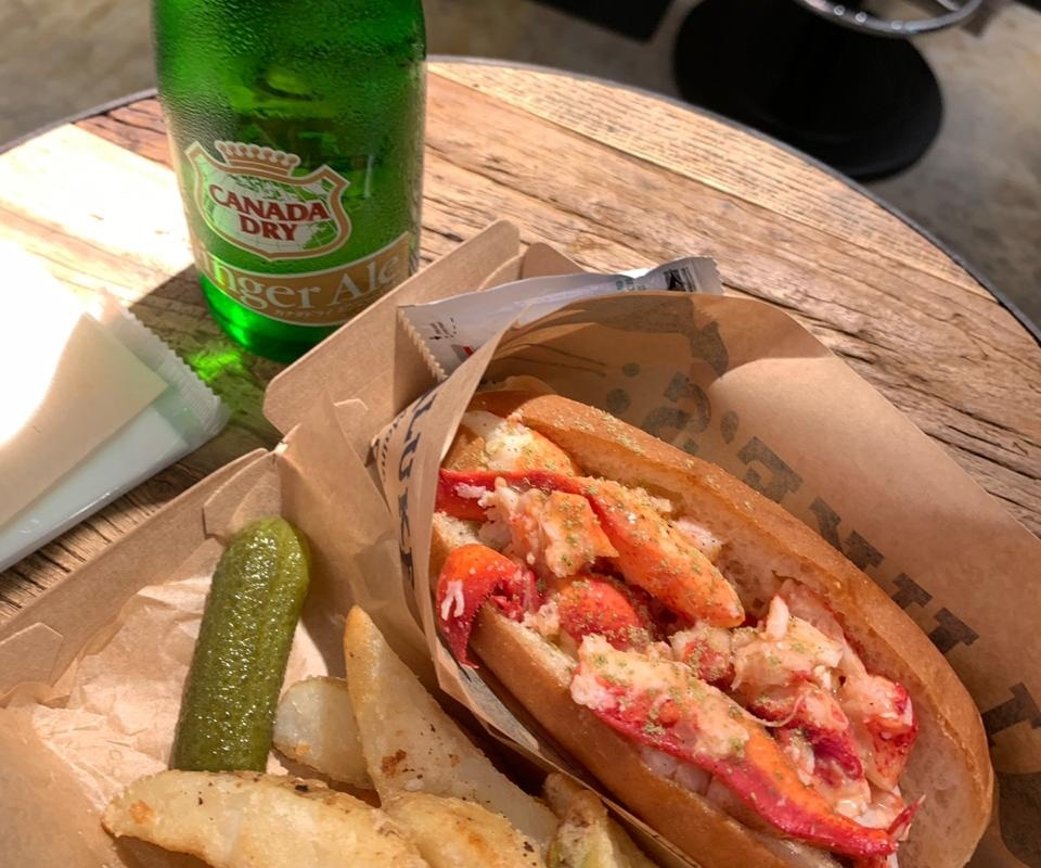 Lobster sandwich, fries and ginger ale